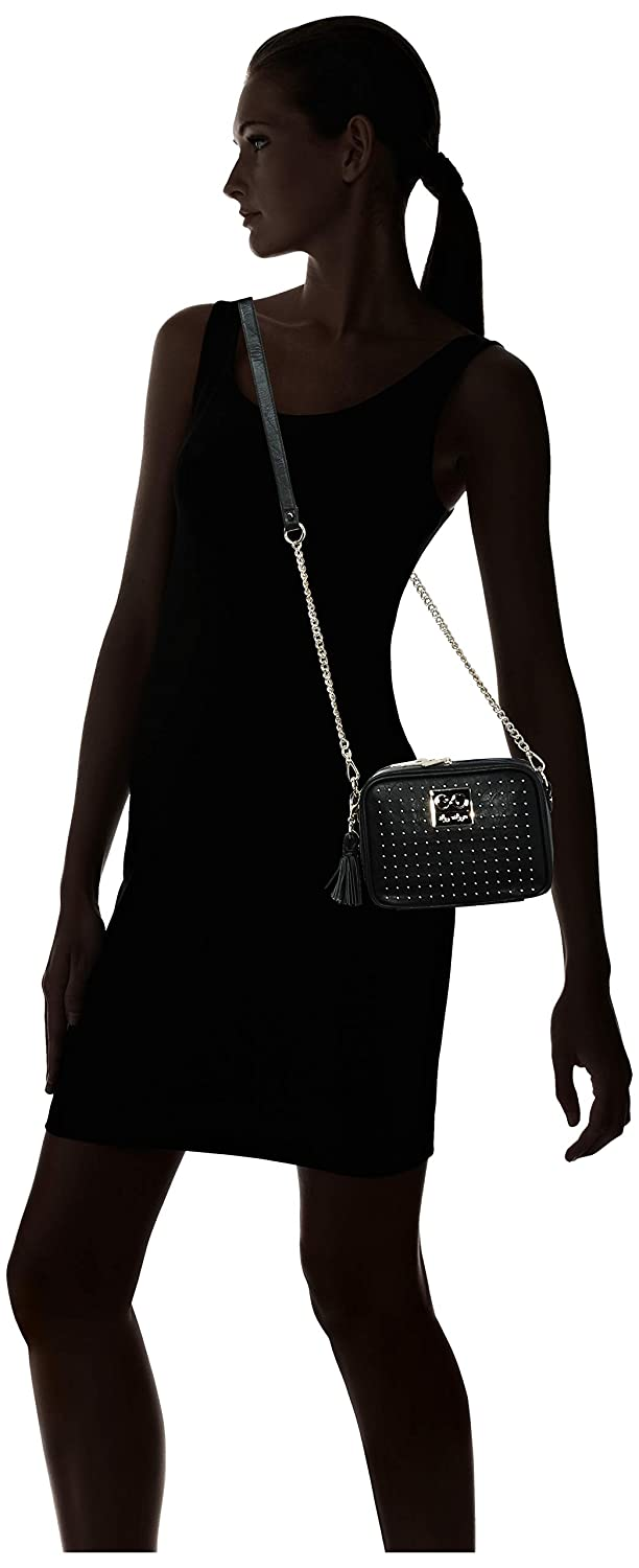 Chelsea + Cole for Itzy Ritzy Crossbody Diaper Bag - Includes 6 Pockets, Changing Pad & Tassel; Black with Sweetheart Print