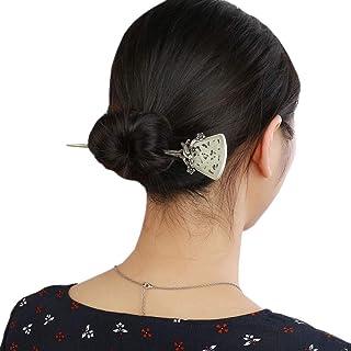 HangErFeng Hair StickS925 Silver Mosaic and Hotan Jade Ancient Wind Hair Hang as Old Craft