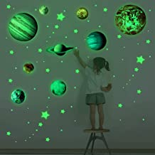 Wall Decals 3D Luminous Wall Stickers for Kids Bedroom Decor Glow in The Dark Stars and Planets Solar System Removable Wal...