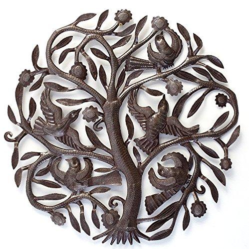 Joyful Haitian Tree of Life Plaque, Decorative Metal Tree with Birds, Wall Hanging Art, Indoor or Outdoor Decor, Handmade in Haiti, NO Machines Used, 24 In. x 24 In. (Steel Drum Tree)