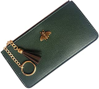 AnnabelZ Women Phone Purse Change Wallet Long Coin Pouch Card Holder Clutch with Key Chain Ring Tassel Zip
