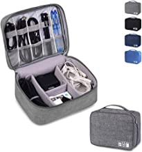 Electronics Organizer Waterproof Carrying Cases - Universal Electronics Accessories Travel Cases for Charging Cord, Power Bank, Cables, Earphone, Ipad Mini, Calculator, Customize Inside with Dividers