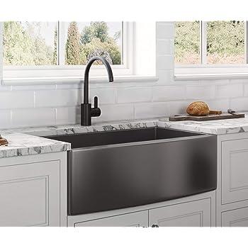 Ruvati Gunmetal Black Matte Stainless Steel 33-inch Apron-Front Farmhouse Kitchen Sink - Single Bowl - RVH9733BL