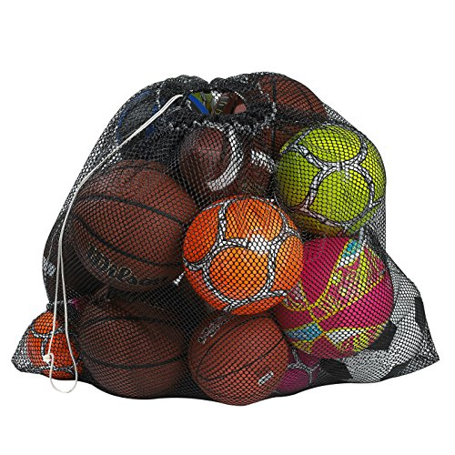 """Mesh Equipment Bag Black  32"""" x 36""""  Adjustable sliding drawstring cord closure Perfect mesh bag for parent or coach making it easy to transport and keeping your sporting gear organized"""