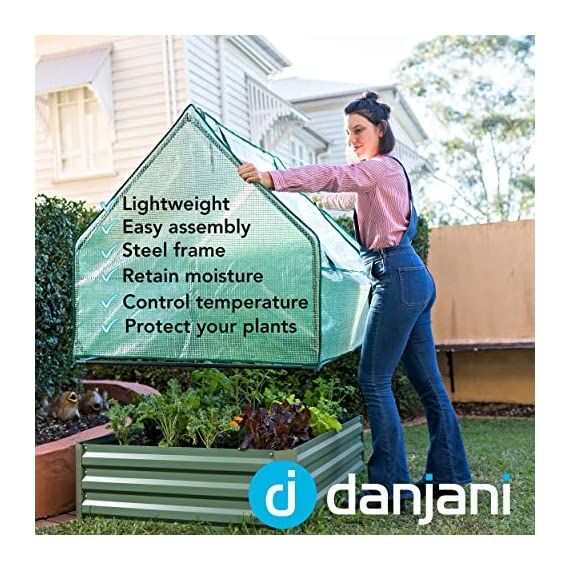 Danjani outdoor raised garden bed with drop over greenhouse - durable, anti-rust steel flower beds - 71. 3 gal planter… 2 perfect for every gardener: whether you're an experienced gardener or as new as freshly grown sprouts, this raised garden bed kit is perfect for you. The planter box makes growing herbs, vegetables and plants easy and stress-free. Enjoy low maintenance with the greenhouse, which provides weather protection, keeping heat and moisture in, and bugs and critters out. Protect and nourish plants: the greenhouse drop over can increase plant yield by providing a warm and nourishing environment to grow in. It also protects from extreme weather, making it possible to grow plants that normally wouldn't fare well in your area. Enjoy year-round fruits and vegetables with the option to grow in the winter. Save money: the rising cost of herbs and produce makes eating healthy an expensive option. But it doesn't have to. Growing your own food can be rewarding, not only for your body and mind but for your wallet too. Have year-round access to some of your favorite fruits, vegetables, and herbs with only the minimal cost of growing them!