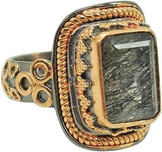 Ravishing Impressions Jewellery Anillo de plata de ley 925 chapado en oro rosa cojín negro de cuarzo rutilo delicado moda