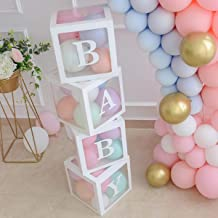 Baby Shower Boxes Party Decorations – 4 pcs Transparent Balloons Boxes Décor with Letters, Individual BABY Blocks Design f...