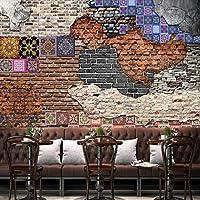 mzznz カスタム3Dレンガ壁アートレトロビンテージ背景壁紙壁画-350X250Cm