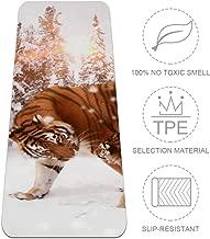 Nananma Esterilla de Yoga de 72 Pulgadas de Largo, cómoda, para Ejercicio, Yoga, Pilates, Tigre y Blanco con impresión de Nieve, Certificado SGS TPE ecológico, Antideslizante, 6 mm de Grosor