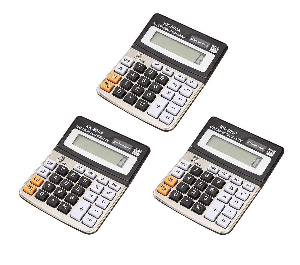 ワイン思慮のない履歴書123Arts 3個 12桁 LCDディスプレイ 標準機能 デスクトップ電卓