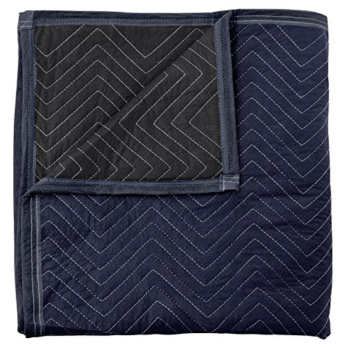 """Sure-Max 12 Moving & Packing Blankets - Pro Economy - 80"""" x 72"""" (35 lb/dz Weight) - Quilted Shipping Furniture Pads Navy Blue and Black"""