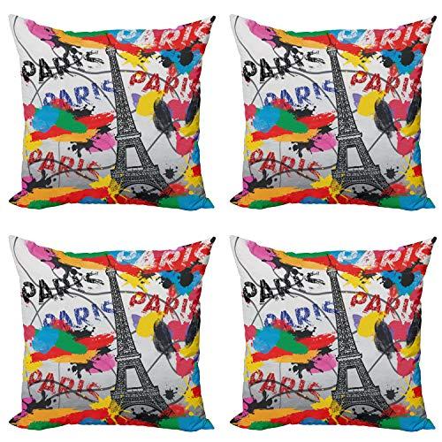 ABAKUHAUS París Set de 4 Fundas para Cojín, Arte contemporáneo Eiffel Torre, Estampado Digital en Ambos Lados y Cremallera, 50 cm x 50 cm, Negro y Rojo
