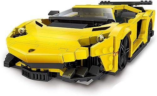 muchas sorpresas HLDX 834PCS + Serie de tecnología tecnología tecnología amarillo Lightning Sports Car-Rompecabezas de los Niños Insertar combinación de Bloques de construcción Juguetes-Regalo de cumpleaños Niños  popular