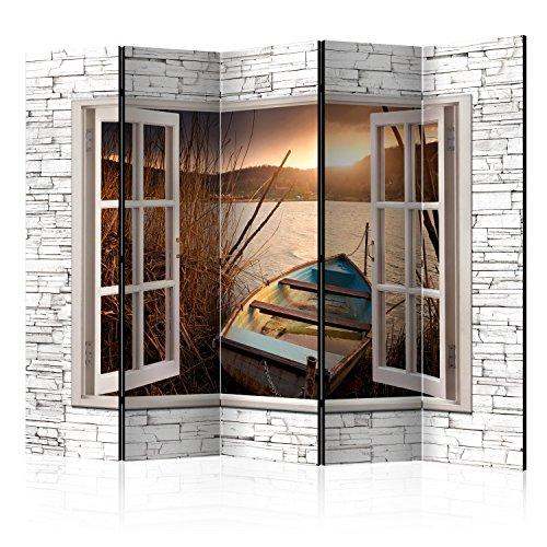murando Raumteiler Fensterblick Fenster Landschaft Foto Paravent 225x172 cm beidseitig auf Vlies-Leinwand Bedruckt Trennwand Spanische Wand Sichtschutz Raumtrenner Home Office grau braun c-C-0085-z-c