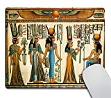 Smooffly Egyptian Mouse pad,Papyrus Depicting Queen Nefertari Making an offering to Isis Customized Rectangle Non-Slip Rubber Mousepad Gaming Mouse Pad