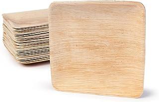 BIOZOYG DTW05359 Plato de Hoja de Palma, 25 uds, Cuadrado, 20x20 cm, Biodegradable