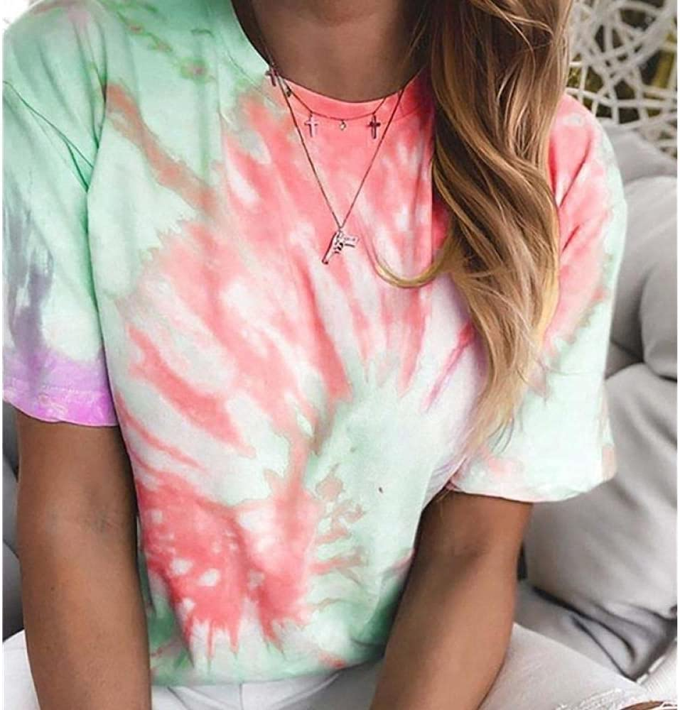 HSHUIJP Sexy Tops for Women Fashion Casual Tie Dye Print Tops Women Short Sleeve Crew Neck Loose Holiday T Shirts Streetwear Women, s Vests (Color : B, Size : L)