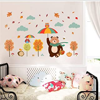 Wall Stickers Lovely Bear Owlets Tree Wall Stickers Kids Bedroom Home Decoration Cartoon PVC Decals DIY Safari Owls Mural ...