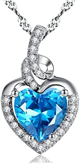 Simulated Birthstone Heart Necklace Sterling Silver Pendant for Women