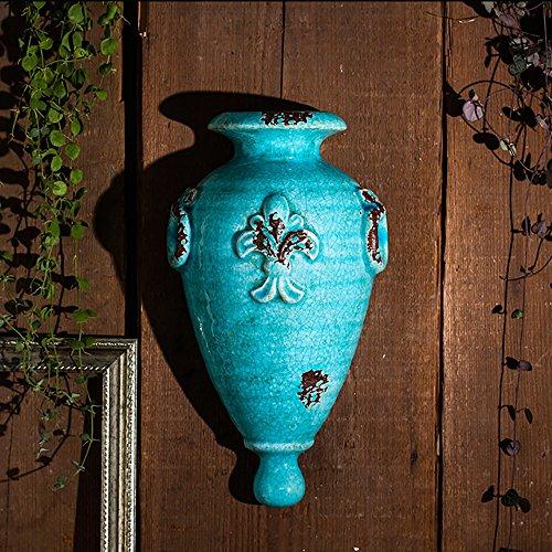 Sungmor Ice-Crack Geglazuurde Keramische Plant Potten, Hoge kwaliteit Multi-kleur Opknoping Planter, Muur & Hek Decor Bloempotten Size:18cmL*10cmW*33cmH Blauw