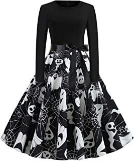 Women's Halloween Scary Swing Dress Skull Spider Ghost Printed Retro Rockabilly Cocktail Party Dress Long Sleeve Floral Print Casual A Line Halloween Dress for Autumn Winter