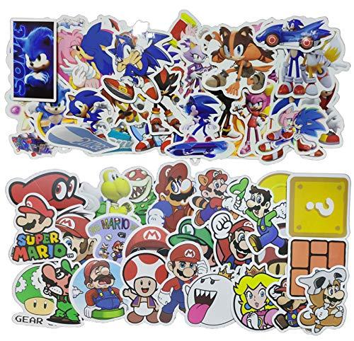 Pegatina Sonic Super Mario 100 unids/pack pegatina de Anime juego Mario pegatina de dibujos animados maleta impermeable DIY portátil guitarra monopatín juguete pegatinas encantadoras