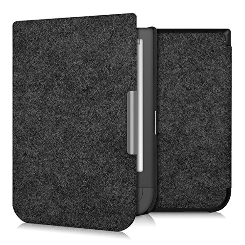 kwmobile Hülle kompatibel mit Pocketbook Touch HD/Touch HD 2 - Filz Stoff eReader Schutzhülle Cover Case - Dunkelgrau