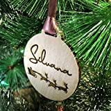 Esfera de Navidad en Madera personalizada, Bola para árbol de navidad personalizada, Adornos de navidad con nombres de niños/as