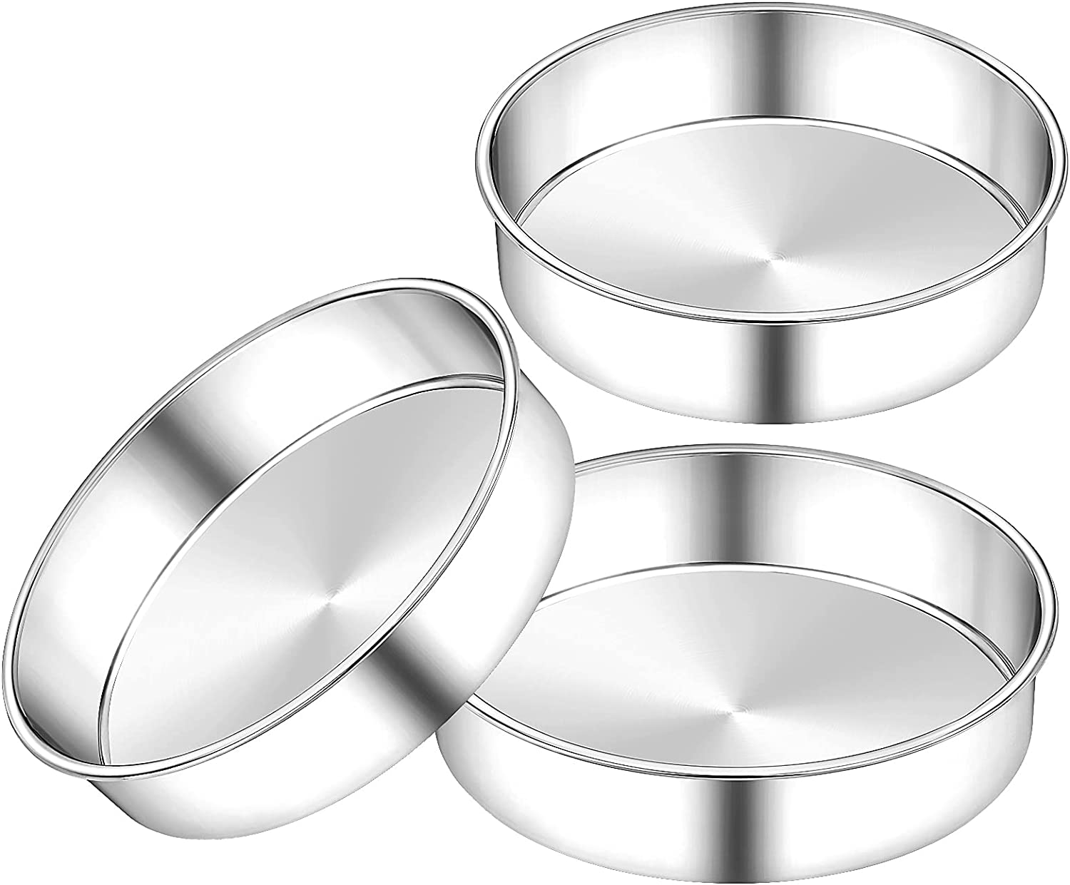6 Inch Max 90% OFF Round Cake Fresno Mall Pan Set 3 Tin Layer of Stainless Steel