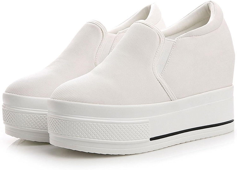 CYBLING Wedge Platform Sneakers for Women Hidden Heel Loafers Canvas shoes