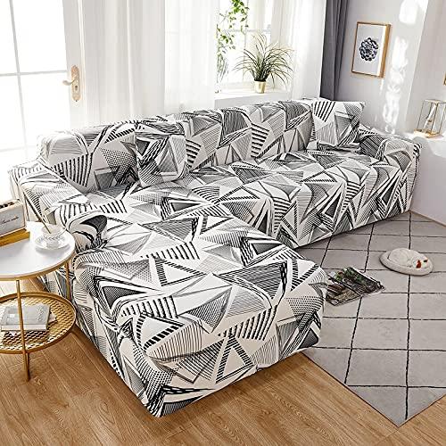 WXQY Fundas Estampadas a Cuadros Funda de sofá elástica elástica Funda de sofá de protección para Mascotas Funda de sofá con Esquina en Forma de L Funda de sofá con Todo Incluido A13 4 plazas