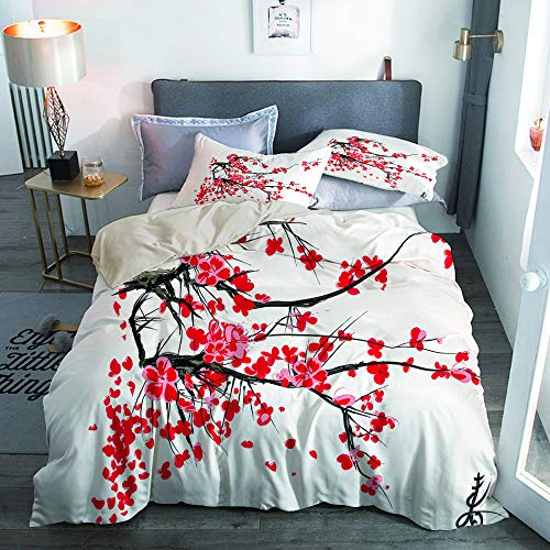PbbrTK Microfiber Lightweight Duvet Cover Sets,Beige,Sakura Blossom Jardin de cerisiers Japonais Summertime Vintage,Decorative 3D Print Bedding Set 200x200 with 2 Pillowcase 50x80,Double
