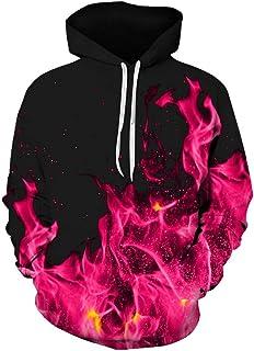 Men's Hoodie Fashion 3D Fire Blaze Printed Long Sleeve Sweatshirt Pullover Tops