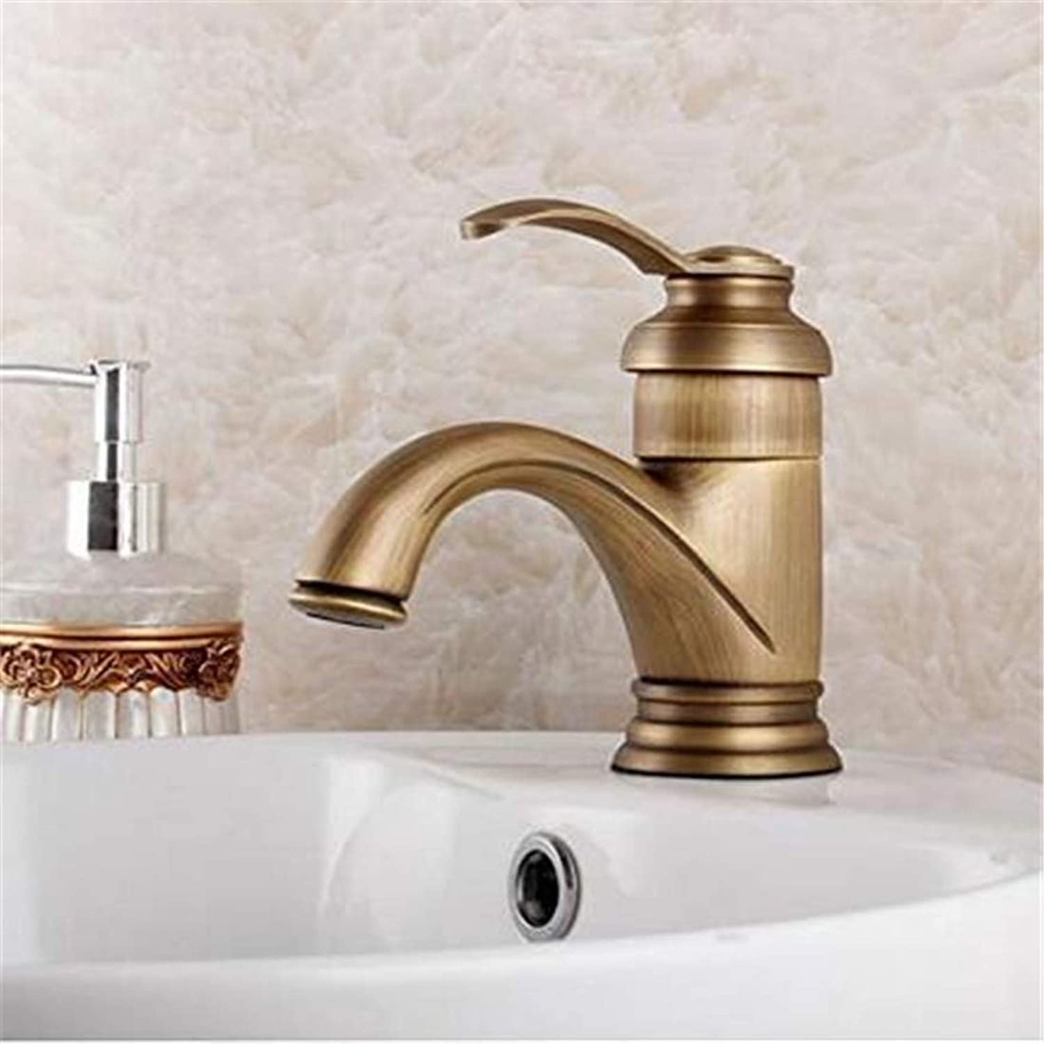 Kitchen Hot and Cold Water Brass Chrome Contemporary Concise Bathroom Faucet Antique Bronze Finish Brass Basin Sink Faucet Single Handle Water Tap