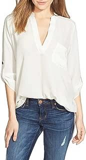 Women's Roll Tab Sleeve Tunic, Perfect Long for Leggings Shirt Cute Versatile Top