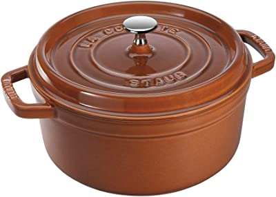 STAUB Cast Iron Round Cocotte, 7-quart, Burnt Orange