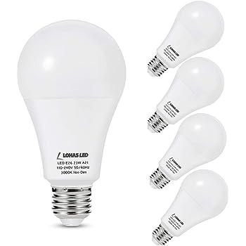 LOHAS A21 LED Light Bulb, 23W Light Bulbs(150W-200W Equivalent), 2500 Lumen Super Bright LED, Soft/Warm White 3000K, E26 Medium Base Light, Not-Dimmable, LED Bulb High Lumen for Home Lights, 4 Pack