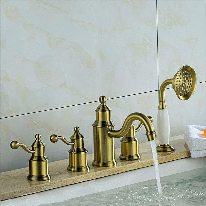 Volle Badewanne aus Kupfer Wasserhahn Kopf fünf Teile Europischen retro Wasserhahn Dusche
