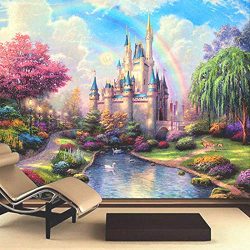 Fotobehang Fotobehang 3D Muurschildering Beddengoed TV Bank Muur Achtergrond Fantasie Kasteel Entree Kinderkamer Kinderen Muurschildering Decor-250x175 cm (98,4 bij 68,9 inch)