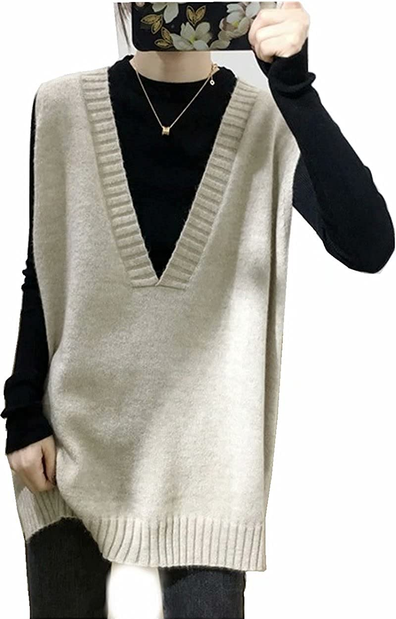 Women's Oversized V Neck Knit Sweater Vest Tunic Sleeveless Pullover Top
