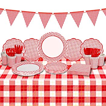 Gatherfun Gingham Red and White Party Supplies Disposable Paper Plates Napkins Cups Knives Spoons Forks Tablecloth Banner for Birthday Party Family Dinner Picnic Barbecue Mother s Day Party 25 Pack