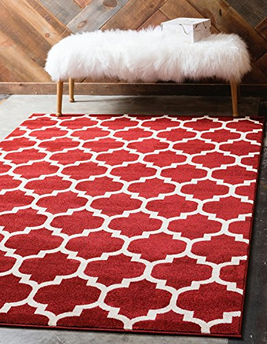 Unique Loom Trellis Collection Moroccan Lattice Red Area Rug (3' x 5')