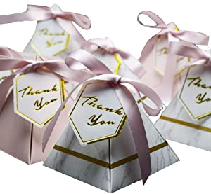 Awcmtpsyol New Triangular Pyramid Marble Candy Box Wedding Favors and Gifts Boxes Chocolate Box Bomboniera Boxes Party Supplies (100, 858590)