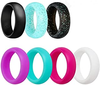 Ubearkk Silicone Wedding Ring, Silicone Wedding Band 7 Pack for Men and Women Esigned for Comfort, Fitness, Exercise, Weight Lifting/Training, Running, Rubber Rings Band