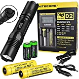 NITECORE P10 800 Lumen high intensity CREE XM-L2 LED specialized tactical duty Strobe Ready compact flashlight with two Genuine Nitecore NL189 18650 3400mAh Li-ion rechargeable batteries, Nitecore D2 Digital battery Charger, Car Charging Cable and 2 X EdisonBright CR123A lithium Batteries