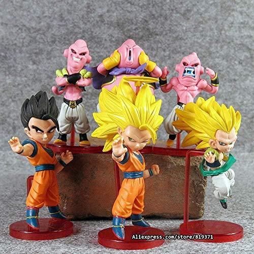 Cadeaux Anime 6pcs / 1sets 12cm Dragon Ball Z Figurines Anime Cartoon Majin Buu Gotenks Saiyan Son Goku PVC Figurines Collection Jouets-Qdragon6pcs