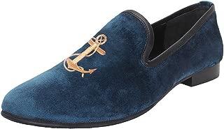 Bareskin Men Handmade Blue Velvet Slip-on with Anchor Embroidery
