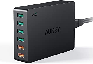 AUKEY Quick Charge 3.0 6-Port USB Wall Charger, 60W USB Charging Station Compatible with Samsung Galaxy Note10, iPhone 12 ...