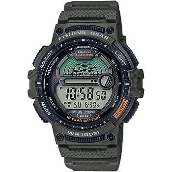 Casio Men's Fishing Timer Quartz Watch with Resin Strap, Green, 24.1 (Model: WS-1200H-3AVCF)