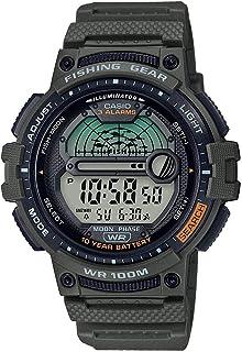 Men's Fishing Timer Quartz Watch with Resin Strap, Green,...